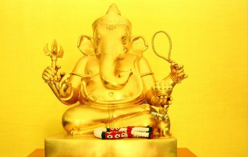 Golden Ganesha for Wealth